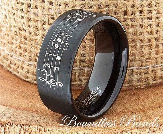 زفاف - Tungsten Music Wedding Band Favorite Song Personalized Tungsten Ring Any Music Sheet Laser Engraved Ring Band His Hers Customized Music Ring
