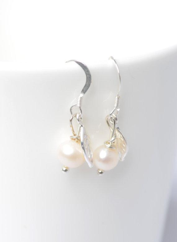 Wedding - Bridesmaid Earrings - Pearl drop earrings - Silver leaf earrings - sterling silver leaf - bridesmaids gift -  Christmas Gift Idea