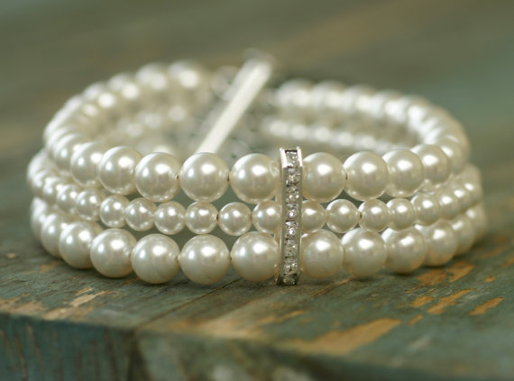 Pearl Cuff Bracelet 3 Strand Bridal Wedding Laura