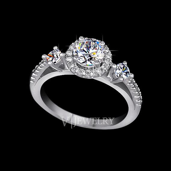 زفاف - Three Stone Ring Round Cut Cubic Zirconia Halo Ring Two Row Micro Pave Ring Engagement Ring Wedding Ring Accent Anniversary Ring, AR0151
