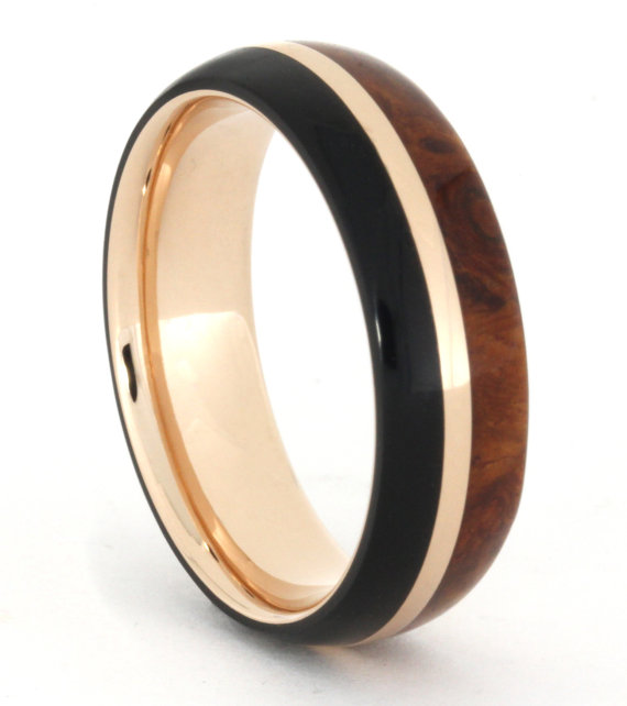 African Blackwood Bands: 14k Rose Gold Ring With African Blackwood And Amboyna Burl