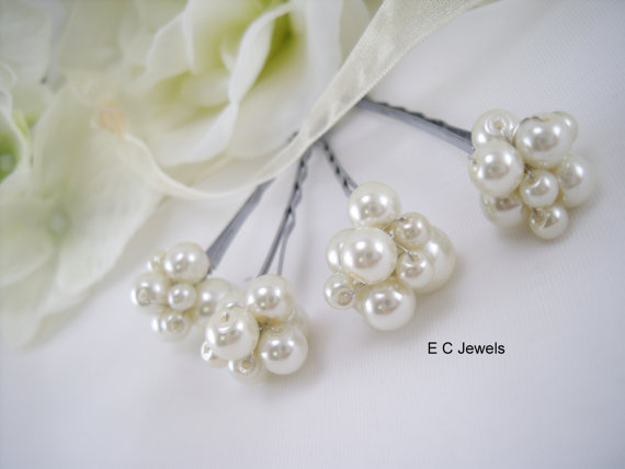 Mariage - Pearl Cluster Hairpins