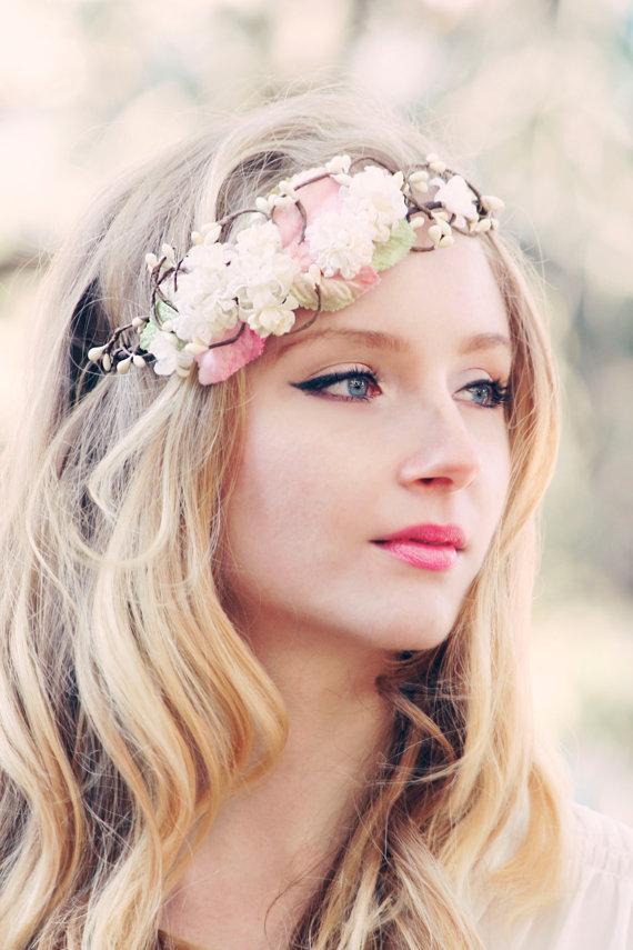 Mariage - bridal flower crown, wedding hair accessories, wedding flower wreath silk flower headband