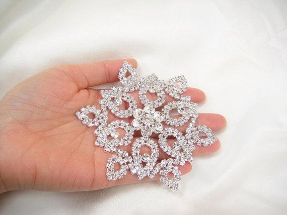 زفاف - Snow Flake Diamante Applique, rhinestone applique, Bridal Applique, wedding applique, Bridal Sash Applique, wedding belt