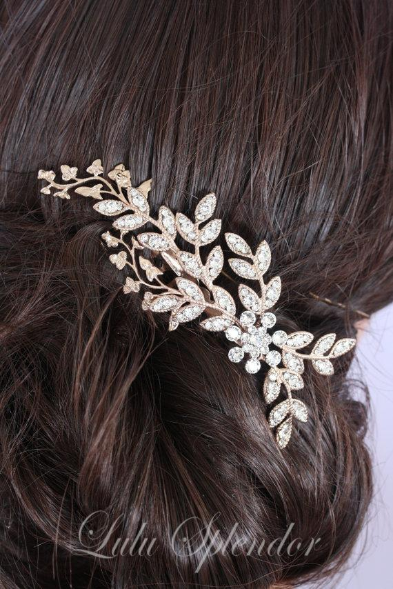 Mariage - Rose gold Bridal Comb Wedding Hair comb Crystal Fall Leaves Wedding Hair Accessories   NEVE