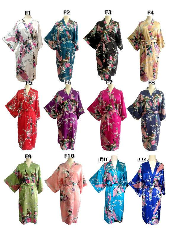 Wedding - On Sale Set  9 Kimono Robes Bridesmaids Silk Satin Mix Colour Paint Peacock Designs Pattern Gift Wedding dress for Party Free Size