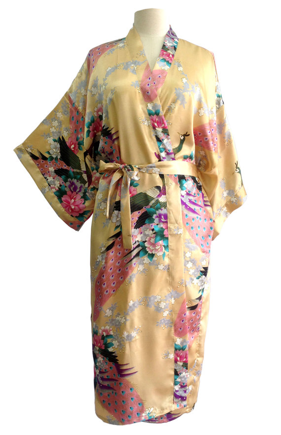 Wedding - On Sale Kimono Robes Bridesmaids Silk Satin Beige Colour Paint Peacock Desigh Pattern Gift Wedding dress for Party