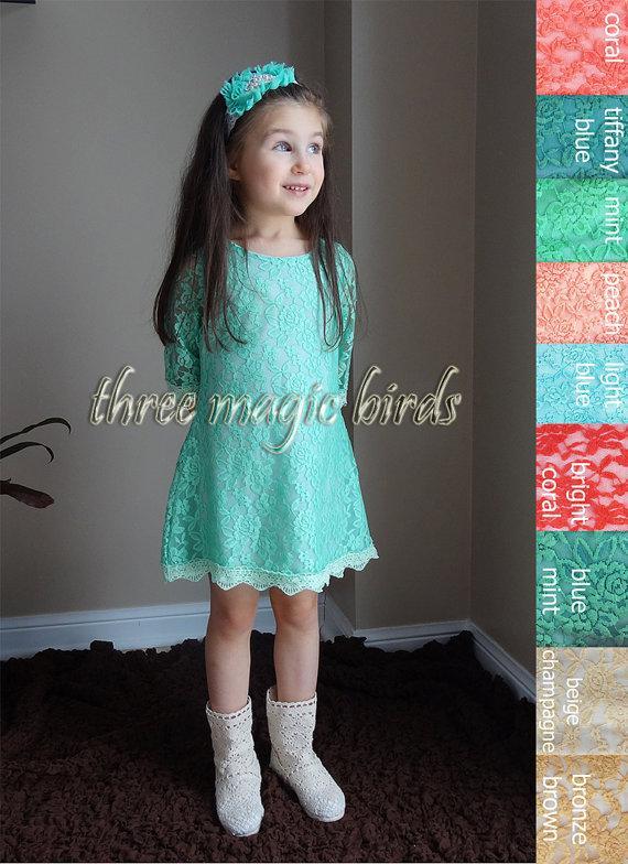 Long aqua toddler dress