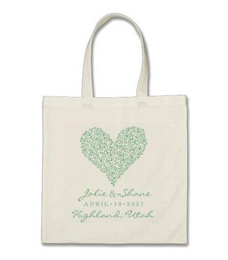 Hochzeit - Wedding Welcome or Destination Wedding Tote Bag - Sweet Heart Personalzed Tote Bag in Mint Green