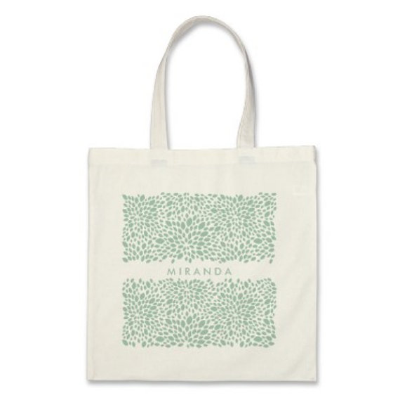 Hochzeit - 7 Bridesmaids Personalized Signature Delicate Petals Totes in Mint Green