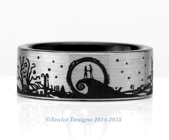 nightmare before christmas landscape wrap around tungsten wedding band mens womens pipe cut silver anniversary engagement all size available - Nightmare Before Christmas Wedding Bands
