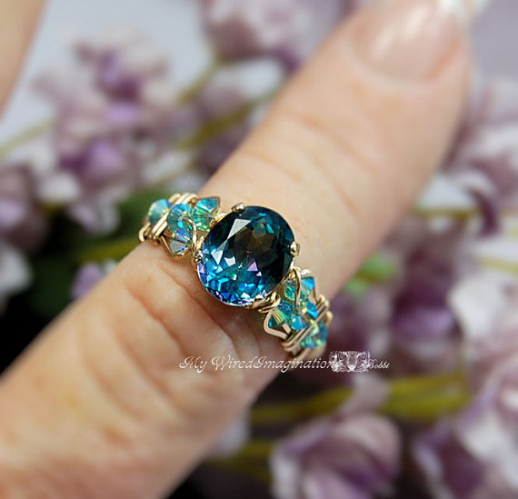 Hochzeit - Peacock Blue Rainbow Mystic Topaz Wire Wrapped Ring Hand Crafted Original Signature Design Ring Fine jewelry