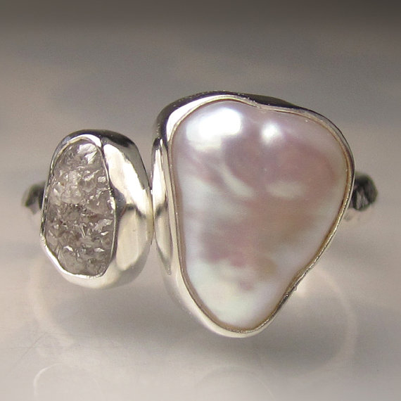 Mariage - Baroque Pearl and Rough Diamond Ring - Recycled Palladium Sterling Engagement Ring - Made to Order