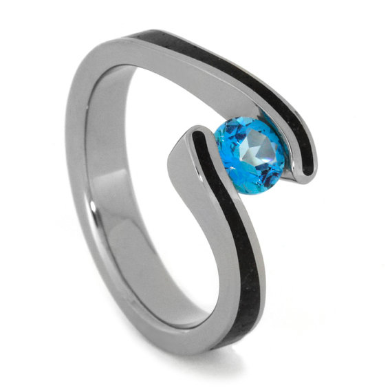 Wedding - Blue Topaz Ring and Wedding Band with Crushed Rock Accent Styled in Titanium, Tension Set Paraiba Topaz Engagement Ring