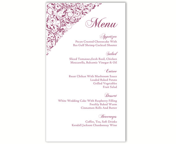 Свадьба - Wedding Menu Template DIY Menu Card Template Editable Text Word File Instant Download Eggplant Menu Card Floral Menu Printable Menu 4x7inch