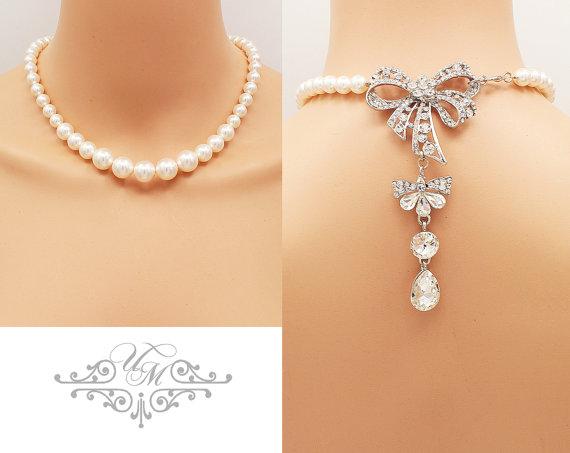 Mariage - Backdrop Necklace Wedding Jewelry Single Strand Swarovski Pearl Necklace Bridal Necklace Bridesmaids Necklace Rhinestone Bow Necklace - MEI