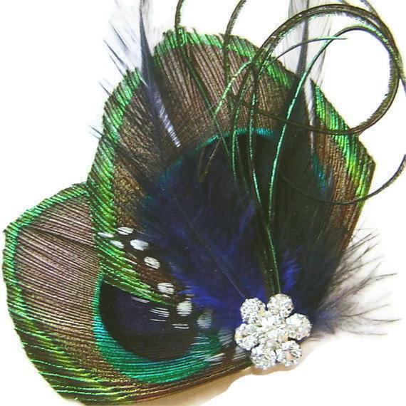 Свадьба - Peacock Hair Clip COBALT KISS Peacock and Rhinestone Wedding Hair Fascinator Clip