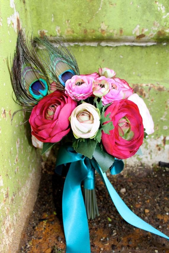 Wedding - Peacock  Love Ranunculus Bouquet