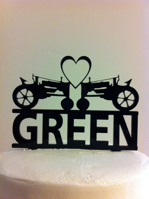 Hochzeit - Farmers Tractor Heart Mr & Mrs Surname Personalized Acrylic Wedding Cake Topper