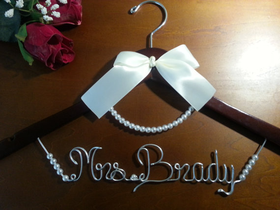 Hochzeit - Bridal Hanger with PEARLS for your wedding pictures, Personalized custom bridal hanger, brides hanger, Bridal Hanger, Wedding hanger, Bridal