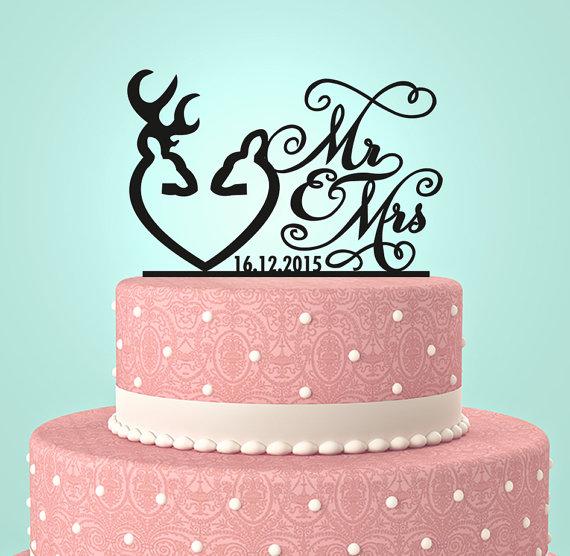 Hochzeit - Deer Wedding Cake Topper - Country Wedding Cake Topper - rustic cake topper - shabby chic- redneck - cowboy - outdoor - western - acrylic