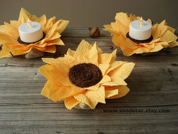Rustic Sunflowers Decoration Set Of 6 Autumn Wedding LED Centerpiece Sunflower Decorations Fall