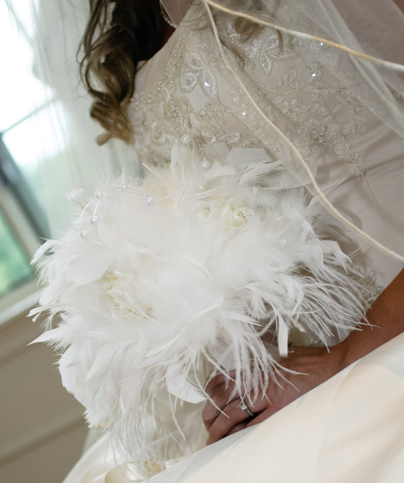 Vintage style white feather flowers bridal bouquet pearls and vintage style white feather flowers bridal bouquet pearls and roses ostrich chandelle feathers wedding bouquets rose custom bride colors mightylinksfo