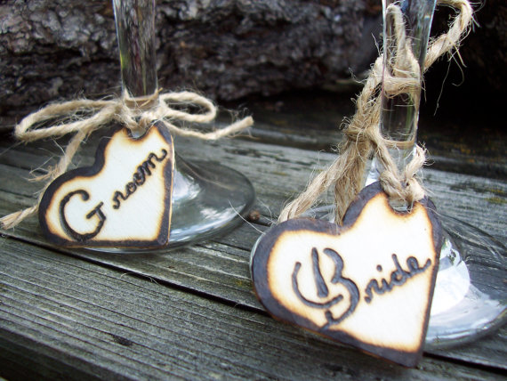 Hochzeit - Ready to Ship - - Rustic Heart Bride and Groom Personalized Wine Glass or Napkin Holder Charms (Set of two)