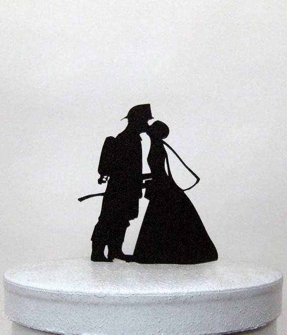 زفاف - Wedding Cake Topper - Fireman and Bride Silhouette Wedding Cake Topper