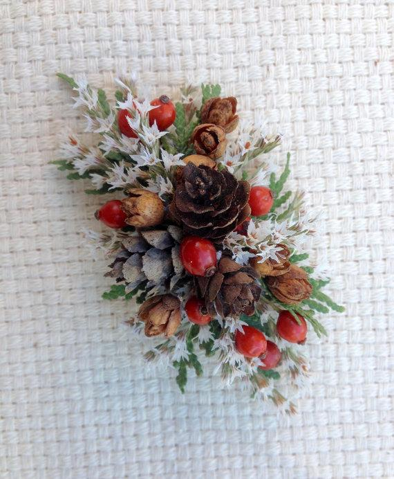 Hochzeit - All real dried flower hair clip or barrette.  For your Christmas wedding or special event.
