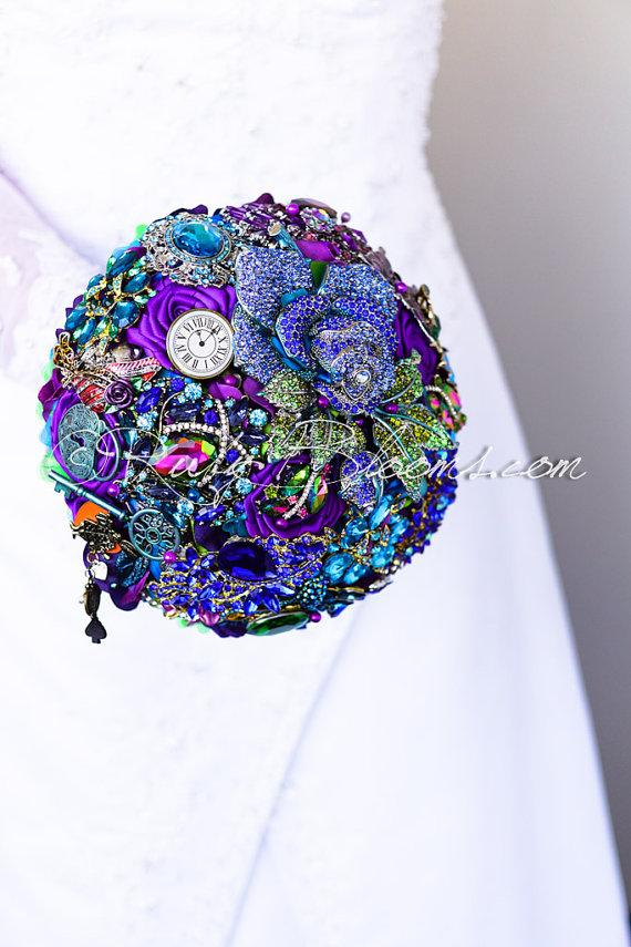 "Mariage - Alice in Wonderland Wedding Brooch Bouquet. Fairy Tale Bridal Brooch Bouquet, ""Alice in Wonderland IV"" Purple, Magenta, Blue Wedding Bouquet"