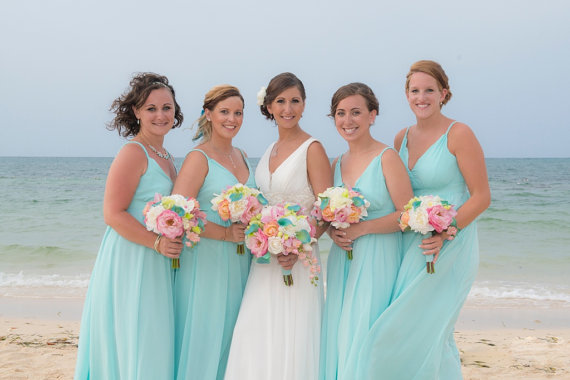 Mariage - The  Bridget- Real Touch Bridal Bouquet- Peonies, Roses, Orchids and Calla's in White, Pinks, Corals, Aqua and Green