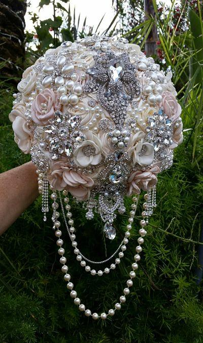 Hochzeit - GORGEOUS PINK IVORY Jeweled Cascading Brooch Bouquet- Deposit for this Custom Bouquet, brooch Bouquet, jeweled Bouquet