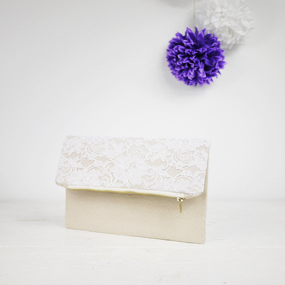 Mariage - Ivory lace clutch, fold over lace clutch for your chabby chic wedding