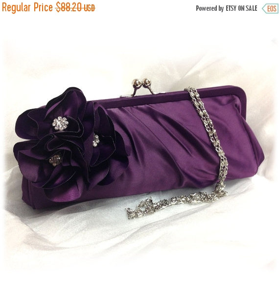 Свадьба - Wedding clutch, Bridesmaid clutch, Purple clutch, evening bag, Bridesmaid bag, crystal clutch, flower bag