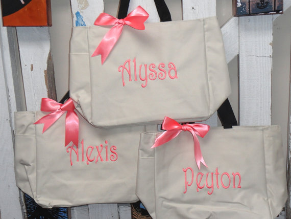 Mariage - Monogramed Tote Bags Set of 9, Bridesmaid Gift, Wedding Party Gift