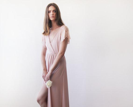 زفاف - Blush pink  wrap dress with lace sleeves, Maxi pink gown with slit, Short sleeves lace dress