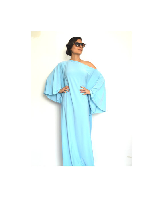 Mariage - Women Long Sleeve Dress, Women Dresses, Turquoise Women Dress, Maxi Women Dresses, Oversize Women Dress