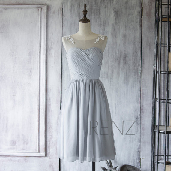 Hochzeit - 2015 Chiffon Bridesmaid Dress, Grey Short Prom Dress, Gray Tea Length Dress, Formal Dress, Lace Mesh Party Dress (F255)-Renzrags Renz
