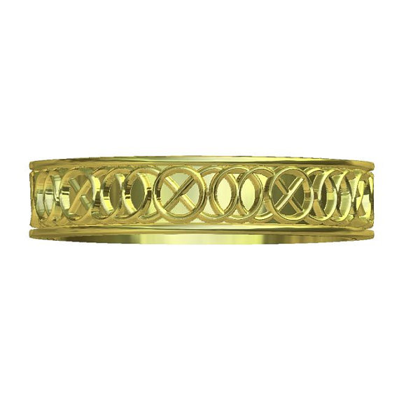 Mariage - Gold Celtic Wedding Ring With A Five-Fold Motif Design in 10K 14K 18K or Palladium, Made in Your Size Cr-344