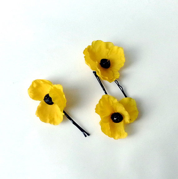 Wedding - Yellow hair flowes, Hair Pins For Weddings, Set of 3, Wedding Hair Piece