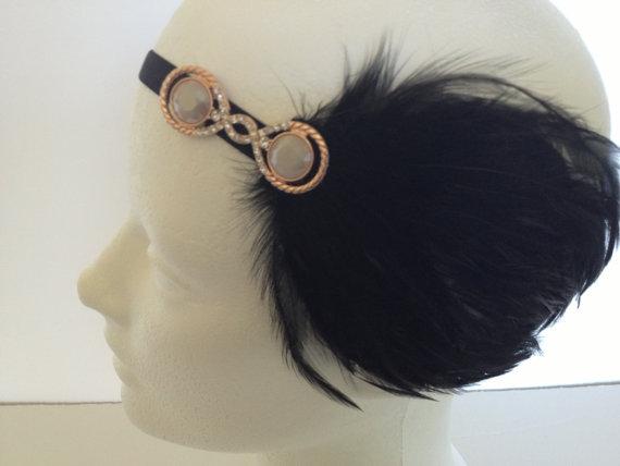 Swarovski headband rose gold headband wedding bridal - Headband annee 20 ...