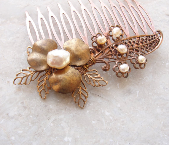 Mariage - Romantic Pearl Hairpiece Vintage Filigree Bridal Haircomb