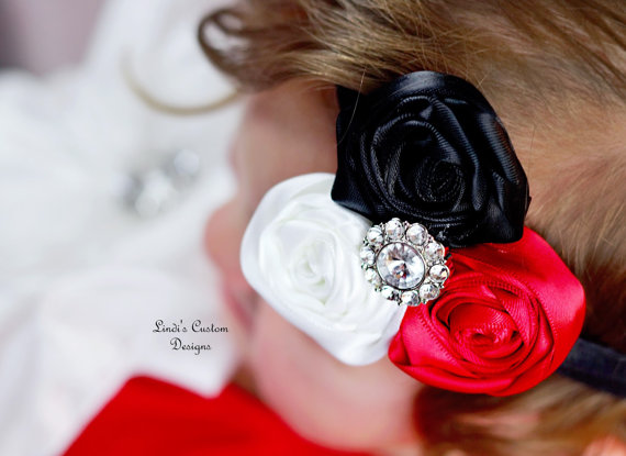 Mariage - Red, Black, and White Satin Ribbon Rose Elastic Headband Accessory adorned with Rhinestone Centerpiece for Weddings, Flower Girls, Bridal