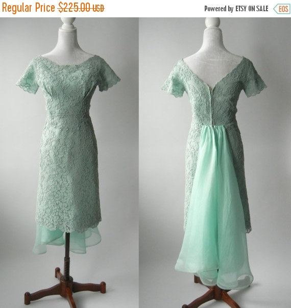 AUTUMN SALE 1950 Dress Vintage 1950s Green Aqua Lace Wedding Short 50s Formal