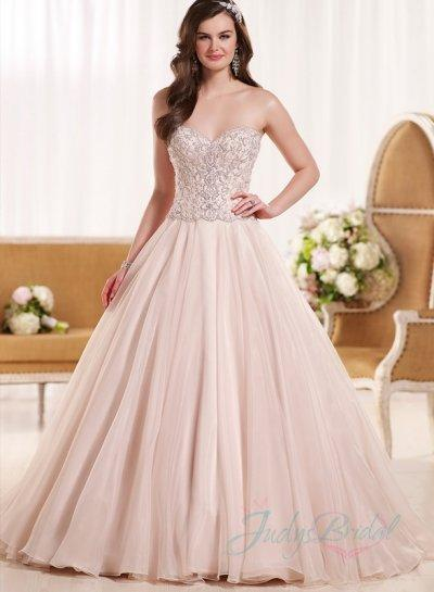 Wedding - Romance blush colored sweetheart neck organza ball gown wedding dress