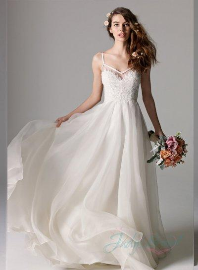 Romantic Thin Straps Low Back Organza Simple Wedding Dress