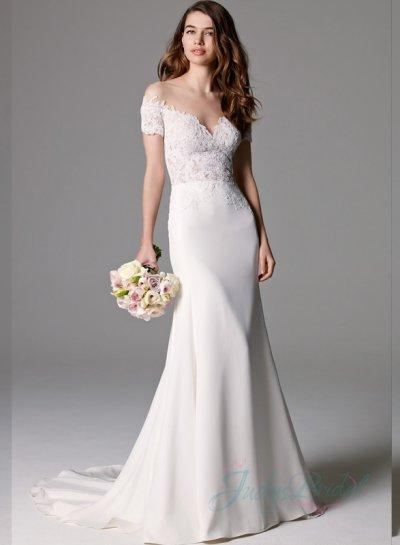 Sexy sheer tulle top illusion lace bodice sheath wedding for Sheer bodice wedding dress