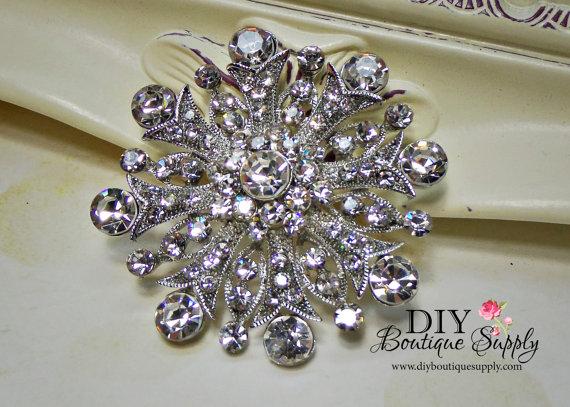 زفاف - Big Rhinestone Brooch Crystal Brooch Bouquet Wedding Bridal Accessories Sash Pin Cake Brooch 55mm 683250