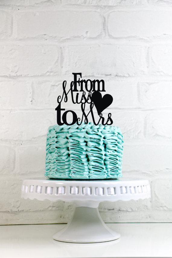 Wedding - Miss to Mrs Wedding Cake Topper or Sign with a heart